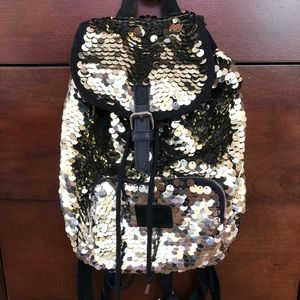 PINK VS Mini Golden Sequin Backpack